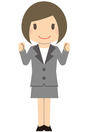 Cute business woman Bob and gray suit ladies Guts pose with a smile Illustration