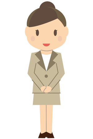 Cute hair-tied business woman Beige suits women Hospitality  イラスト・ベクター素材