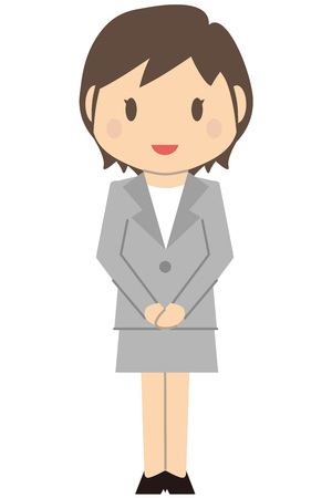 cram: Cute short-haired business woman gray suit woman greeted