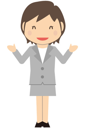 Cute short-haired business woman introduced in gray suit womans full smile Illustration