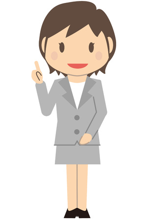 Cute short-haired business woman gray suits women point commentary Illustration