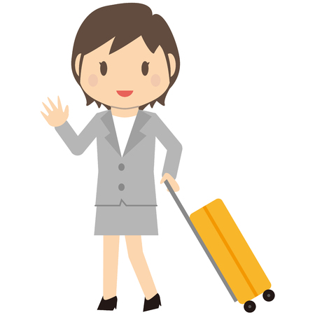 short trip: Cute short-haired business woman business trip to a gray suit Illustration