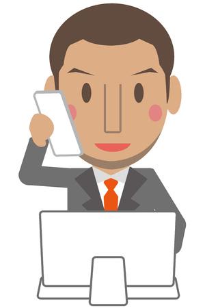 cram: Cute African male gray suit businessman short hair computer