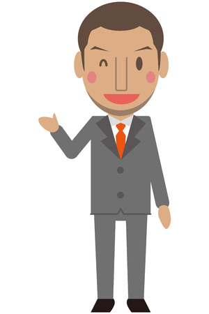 cram: Cute African men Gray suit businessman introduce with short hair wink Illustration