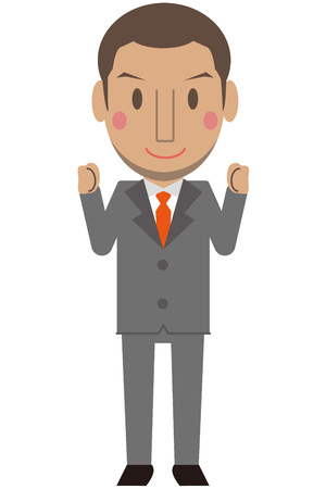 cram: Cute African male gray suit businessman Short hair with both hands smile with guts pose Illustration