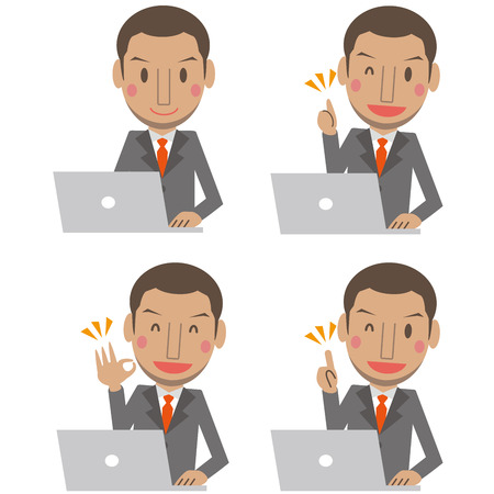 Cute African male gray suit businessman short hair personal computer 4 pose set Illustration