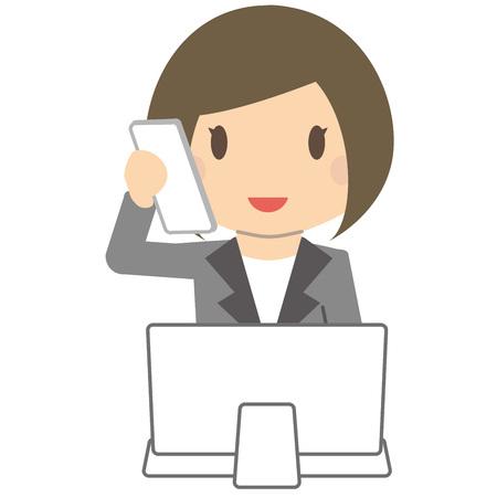 cram: Cute business woman Bob and gray suit ladies PC Illustration