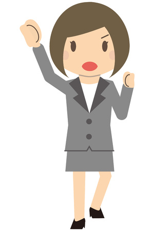 Cute business woman Bob girls suits girls pose pose Illustration