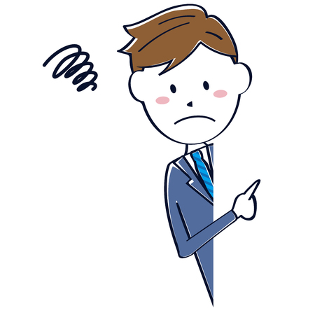 peephole: Cute line drawing salaryman pointing looking negative Negative