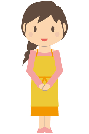 greet: Cute little haired housewife greet Illustration