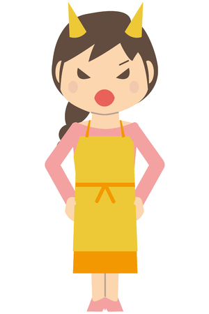 Cute little haired housewife get angry Illustration