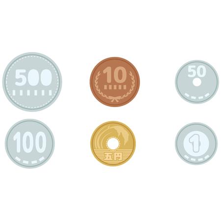 日本の金円コイン  イラスト・ベクター素材