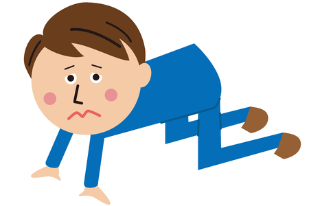 apologise: Pop-style blue suit office worker kneeling down on the ground Illustration