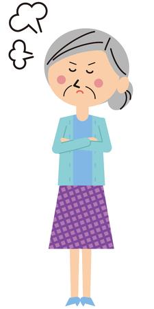 ポップの家族の祖母が怒る  イラスト・ベクター素材
