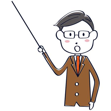 A brown suit salaryman explains Ilustração