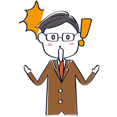 A surprising man in a brown suit is surprised Illusztráció