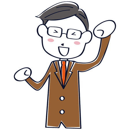 A brown suit salaried man is a guts pose Stock Illustratie