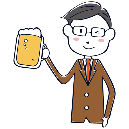 A brown suit salaried man winks with beer