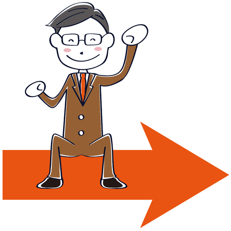 A brown suit salaried man riding the arrow and smiling Illustration
