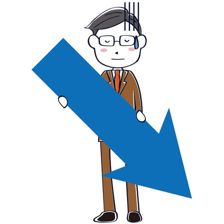 A brown suit salaryman falls down with an arrow