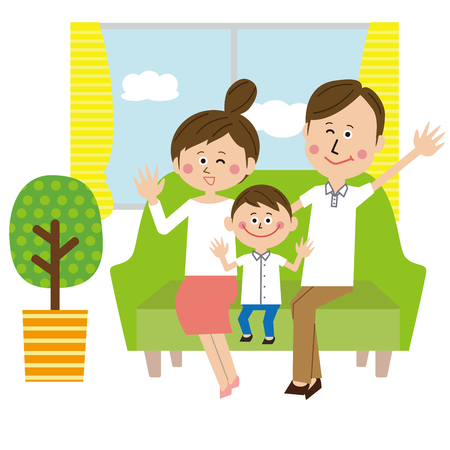 A pop family greeted with a sofa