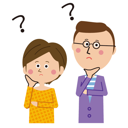 Papa of pop glasses and shortcut mama are puzzled Illustration