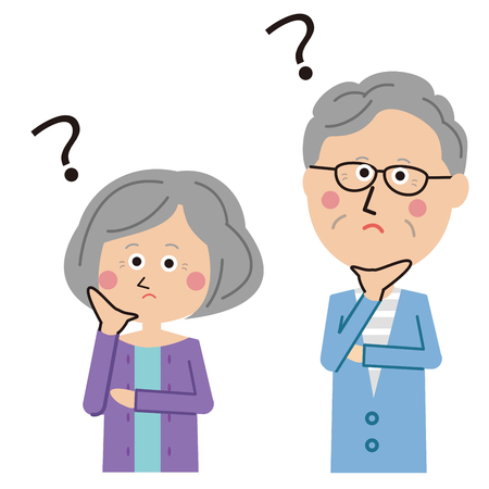 Pop senior couple are puzzled Illustration