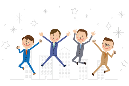 Four pop businessmen jump and guts pose Stockfoto - 102126747