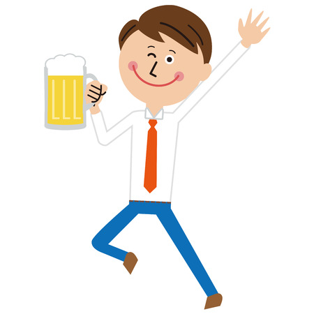 Cheers with a smiling face with a popular businessman 向量圖像