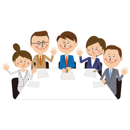 A young businessman and business woman greet in the meeting room  イラスト・ベクター素材
