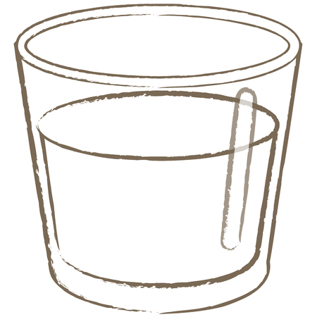A small glass cup with water