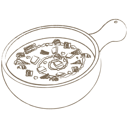 Clam chowder in line drawing