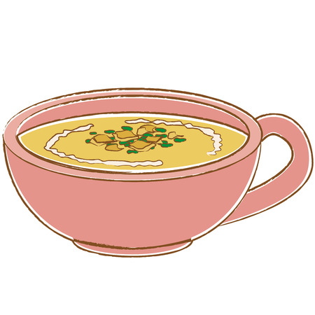 Potage soup that entered the pink instrument of colored line drawing