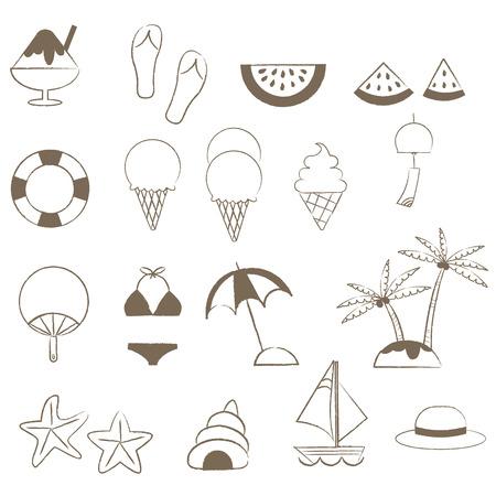Summer items drawn with thin lines Illusztráció