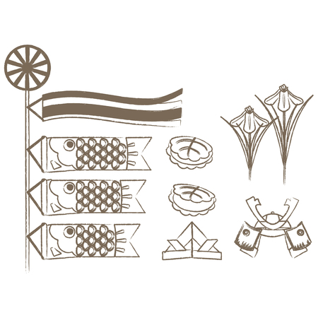 Japanese May items drawn with lines Иллюстрация