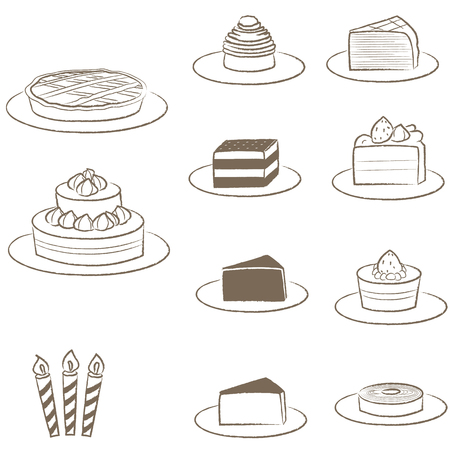 Cakes drawn with lines