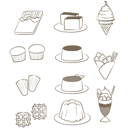 Sweet foods drawn with lines