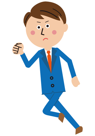 A popular blue suits salaryman runs Illustration