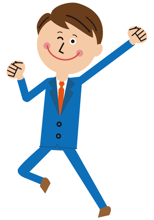 A popular blue suits salaryman got a pose