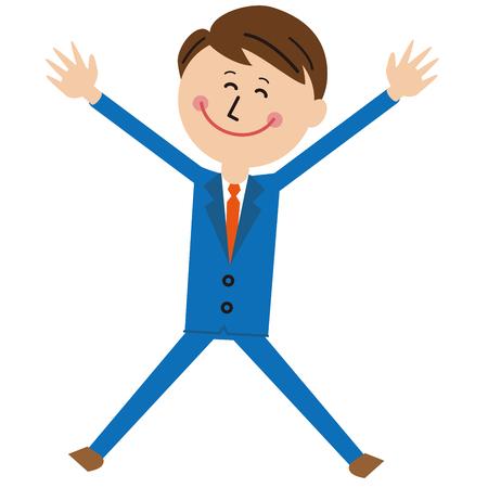 Pop-style blue suit salaried man jumps big