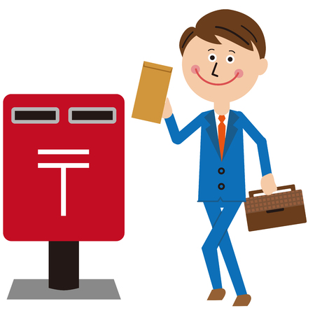 A salaryman in a blue suit post a letter Foto de archivo - 102127576
