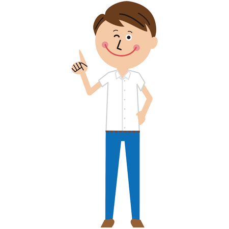 A pop short-sleeved businessman is pointing