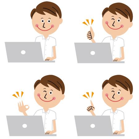 Pop short-sleeved businessman operates laptop computer, 4 poses, positive