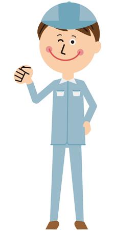A worker of a pop blue uniform praises Vettoriali