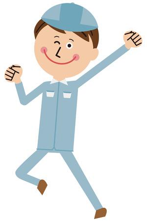 A worker of a pop blue uniform wears a guts pose