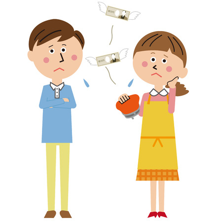 Pop young couple have no money