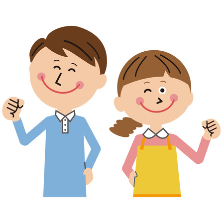 A pop young couple smiling and gut posing  イラスト・ベクター素材