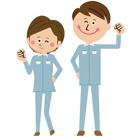 A young worker couple smiling and gut posing