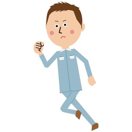 Workers of short hair and pop blue uniform runs Imagens - 102128459