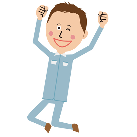 Workers of short hair and pop blue uniform  jumps and winks Illustration